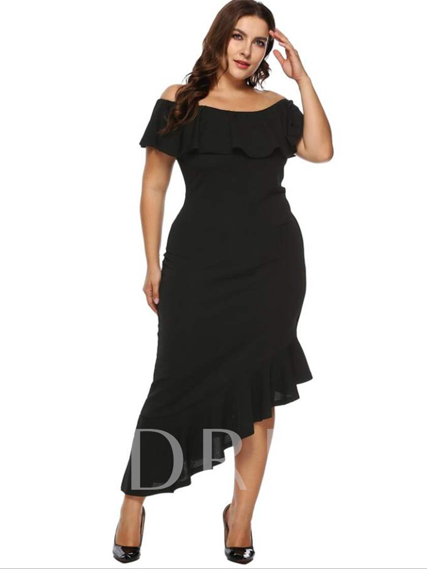136fbadbee Plus Size Falbala Off Shoulder Asymmetrical Women's Maxi Dresses. Sold Out