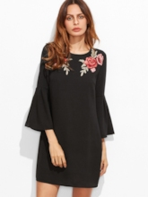 Black Floral Embroidery Casual Day Dress