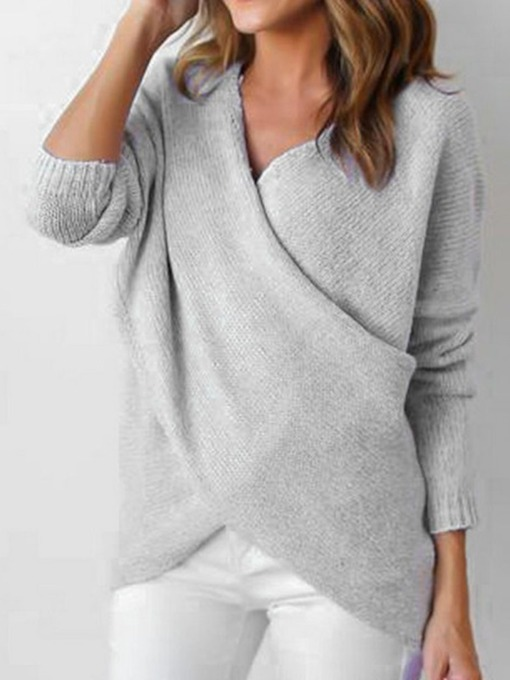 V-Neck Plain Loose Women's Sweater