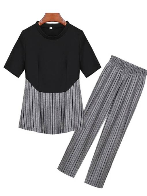 Patchwork Top and Pleated Pants Women's Two Piece Set