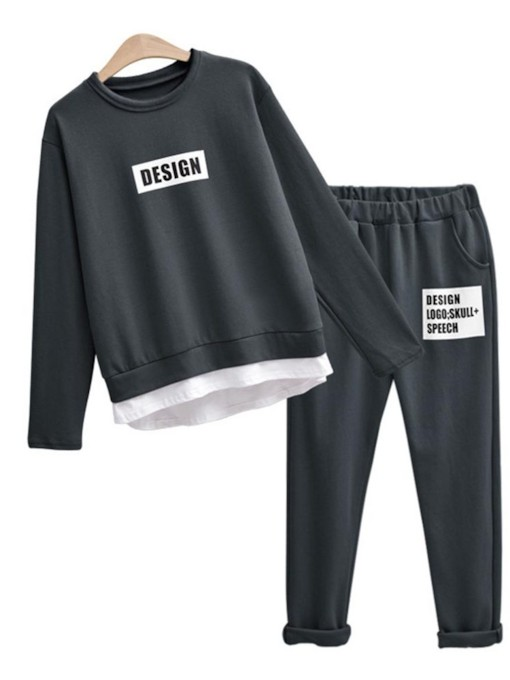 Letter Print Long Sleeve Top and Pants Women's Two Piece Set