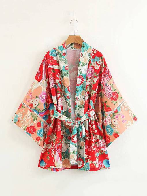 Bell Sleeve Lace Up Floral Printed Women's Kimono