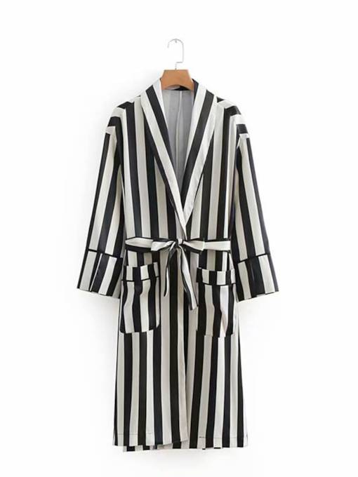 Mid Length Stripe Pocket Women's Trench Coat
