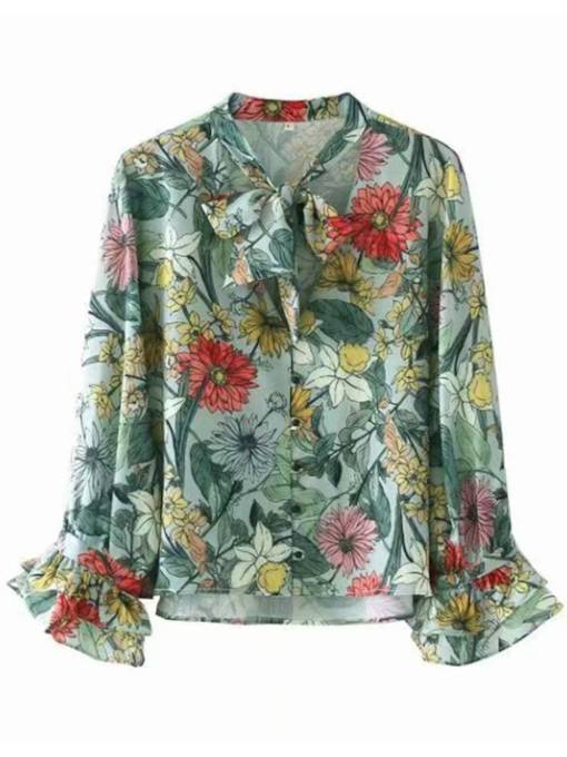Floral Bow Tie Neck Frilled Flare Sleeve Women's Blouse
