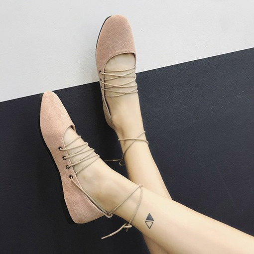 Lace-Up Block Heel Round Toe Ballet Flat Shoes for Women