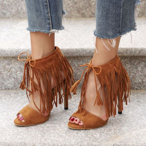 Fringe Lace-Up Stiletto Heel Peep Toe Gorgeous Women's Sandals