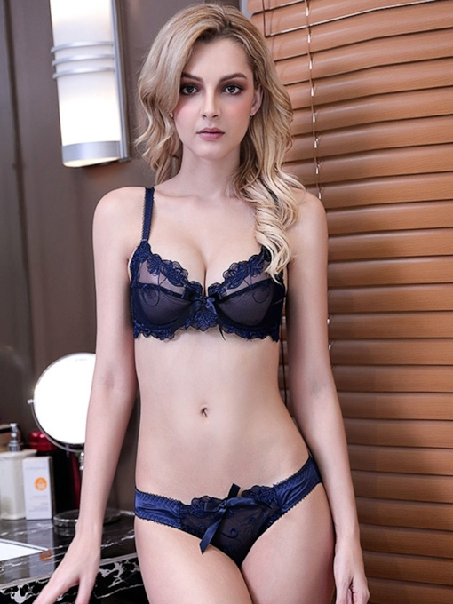 Bowknot Floral Adjusted-Straps Low-Waist Bra Set