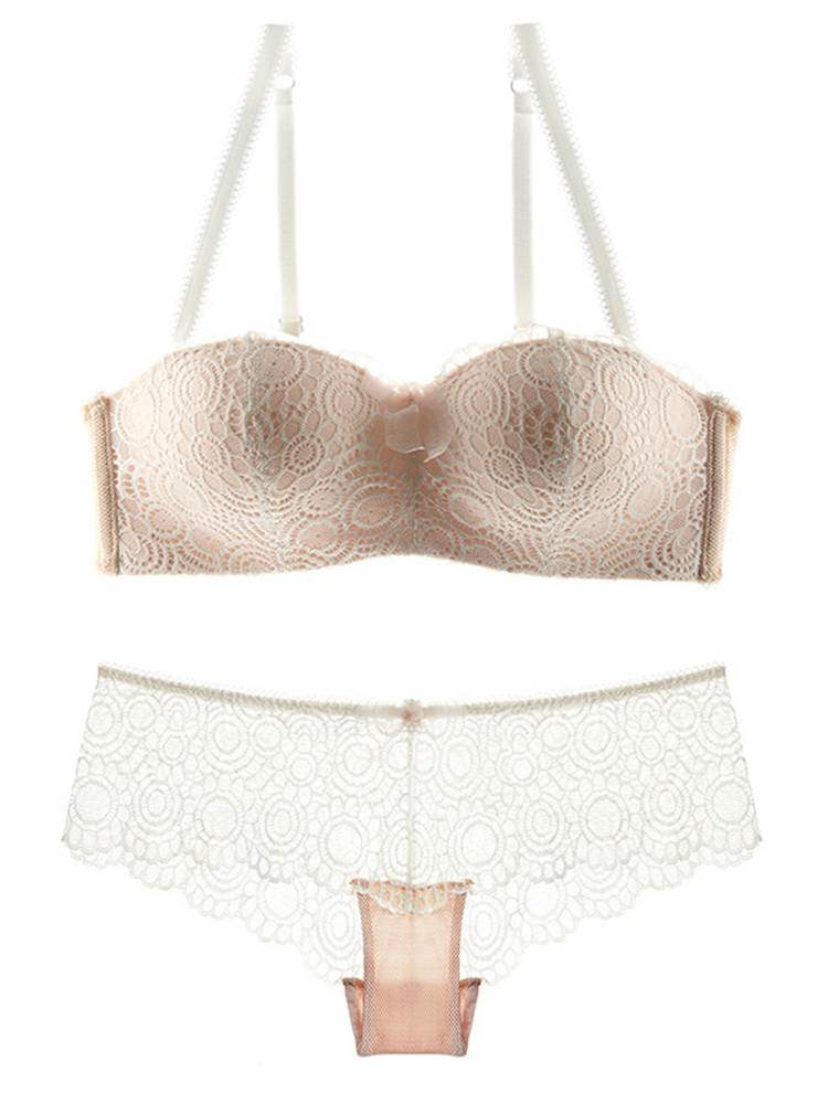 Free Wire Adjusted-Straps Half Cup Bra Set