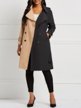 Color Block Notched Lapel Women's Trench Coat