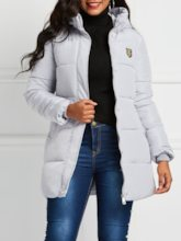 Slim Zipper Mid-Length Puff Women's Cotton Padded Jacket
