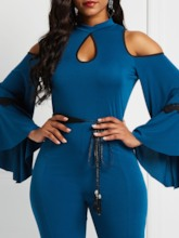 Lace-Up Flare Sleeve Cold Shoulder Slim Women's Jumpsuit