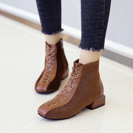 Side Zipper Patchwork Block Heel Square Toe Ankle Boots
