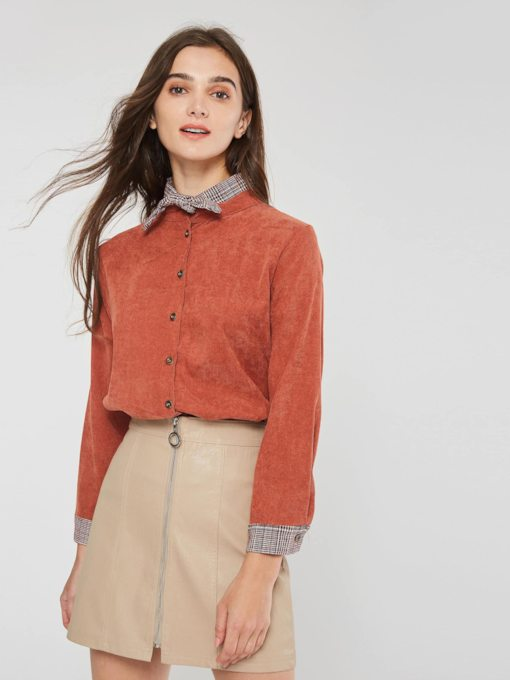 Color Block Long Sleeve Bowknot Single-Breasted Women's Shirt