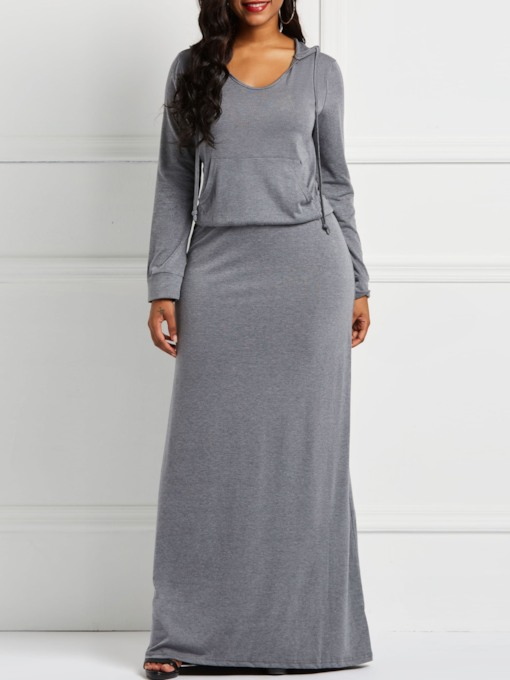 Patchwork Long Sleeve Casual Women's Maxi Dress