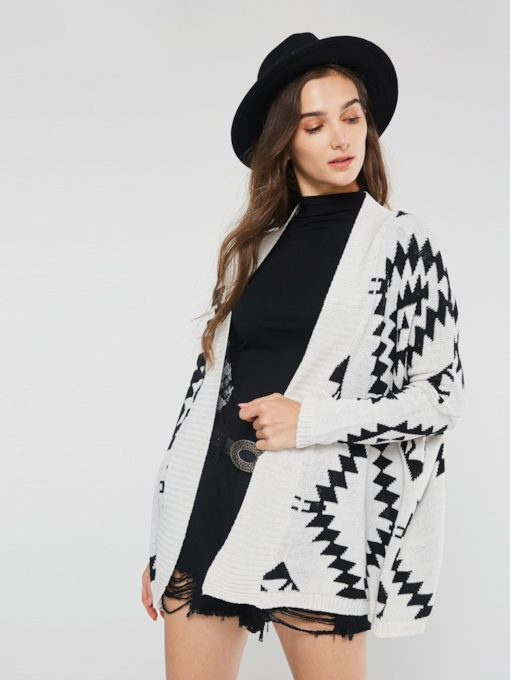 Thick Geometric Print Mid-Length Women's Cardigan