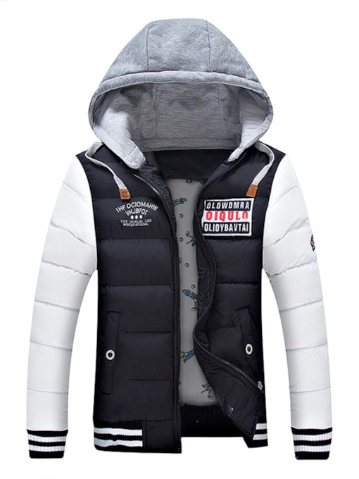 Slim Color Block Hooded European Zipper Men's Down Jacket