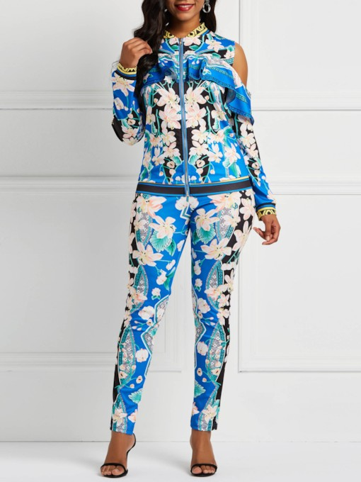 Pants Casual Floral Zipper Women's Two Piece Sets