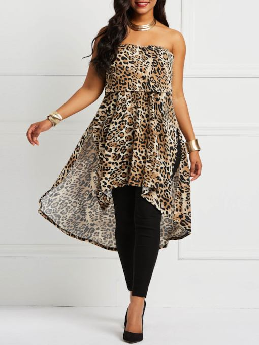 Slash Neck Leopard Asymmetric Women's T-Shirt