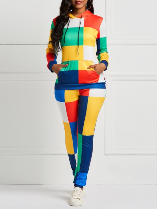 Patchwork Color Block Pullover Hoodie & Pants Women's Two Piece Sets
