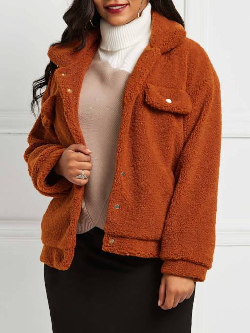 Single-Breasted Long Sleeve Loose Lapel Women's Teddy Jacket