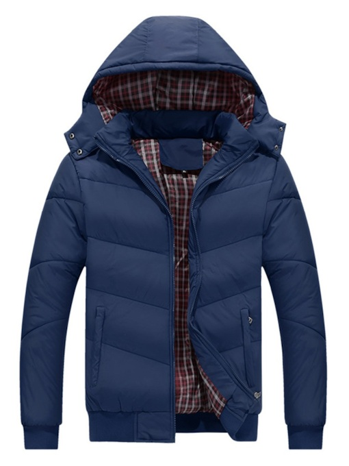 Plain Patchwork Standard Slim Zipper European Men's Down Jacket