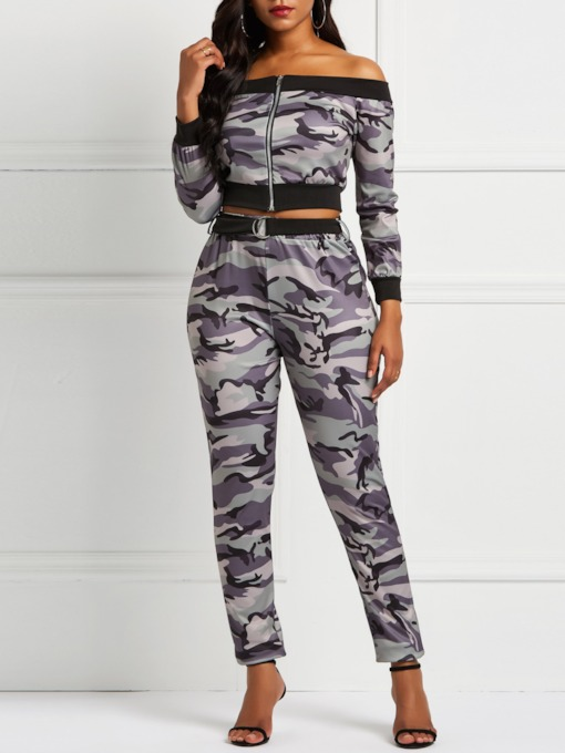 Print Camouflage T-Shirt Casual Off Shoulder Women's Two Piece Sets