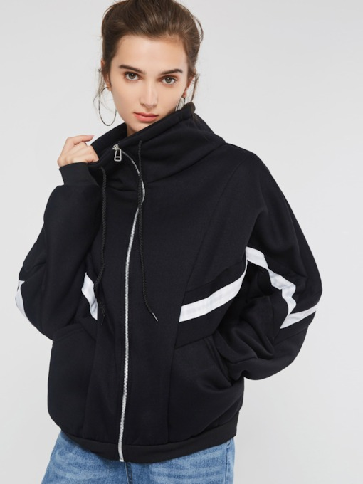 Loose Fleece Zipper Turtleneck Mid-Length Women's Jacket