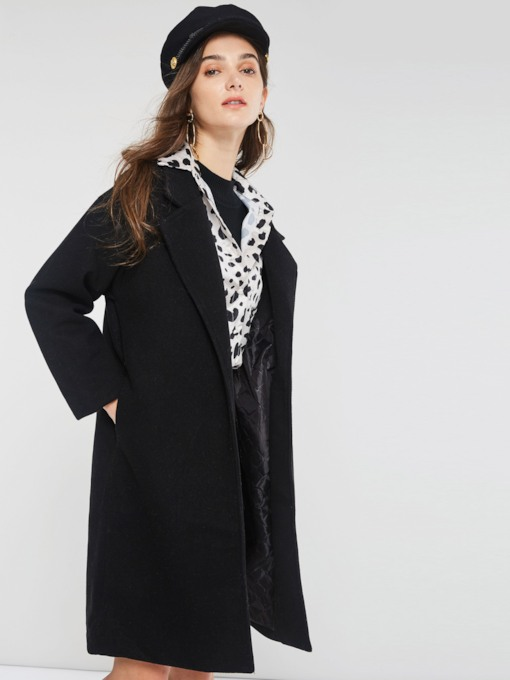 Mid-Length Notched Lapel Long Sleeve Women's Trench Coat