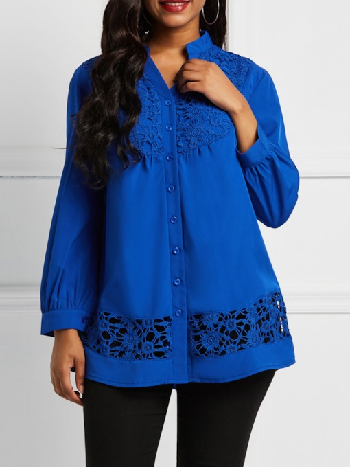 Plain V-Neck Lace Hollow Women's Shirt