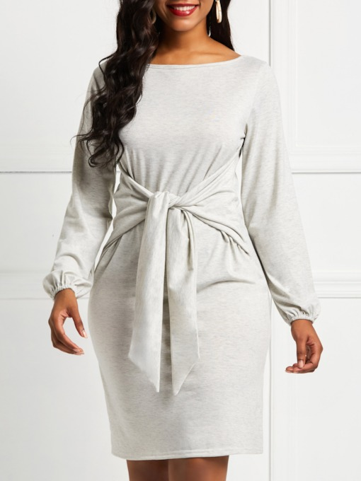 Long Sleeve Round Neck Lace-Up Women's Bodycon Dress