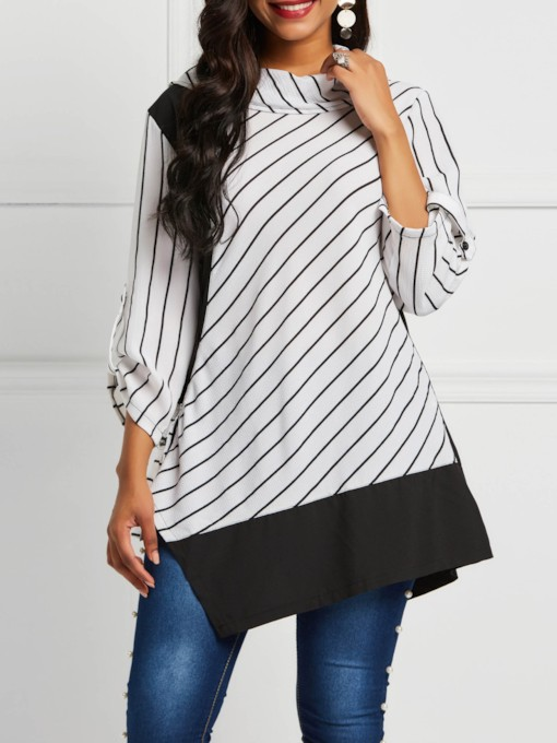 Color Block Stripe Three-Quarter Sleeve Women's Blouse