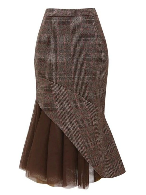 Patchwork Ankle-Length Bodycon Fall Women's Skirt