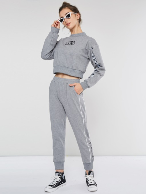 Letter Casual Pullover Hoodie and Harem Pants Women's Two Piece Sets