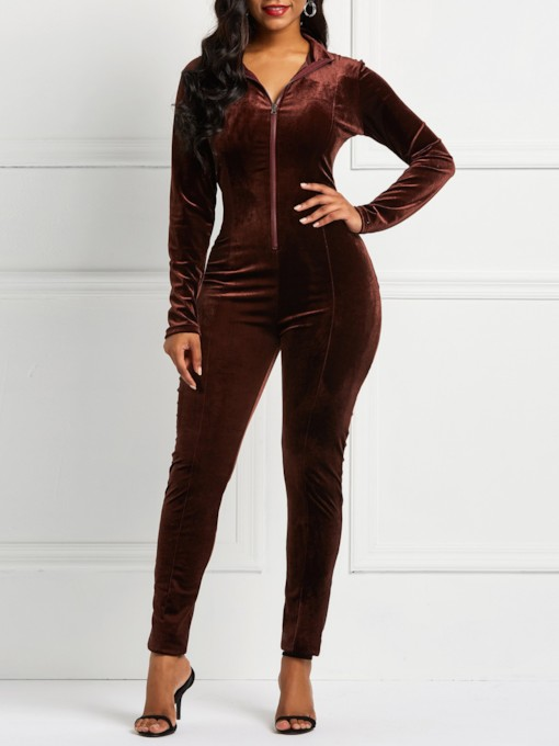 Velvet Full Length Plain Zipper Sports Women's Jumpsuits