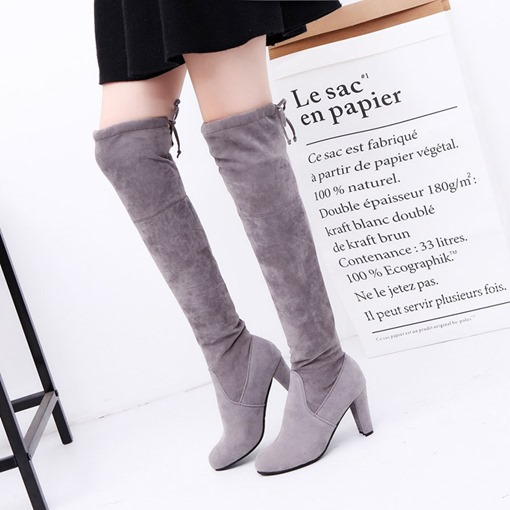 Chunky Heel Round Toe Lace-Up Back Plain Women's Knee High Boots
