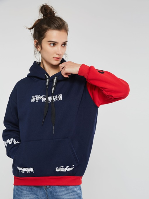 Color Block Letter Print Mid-Length Women's Hoodie
