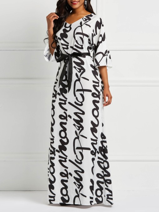 Print V-Neck Letter Sweet Women's Maxi Dress