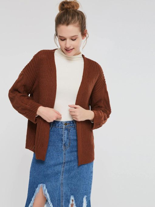 Thread V-Neck Long Sleeve Women's Cardigan