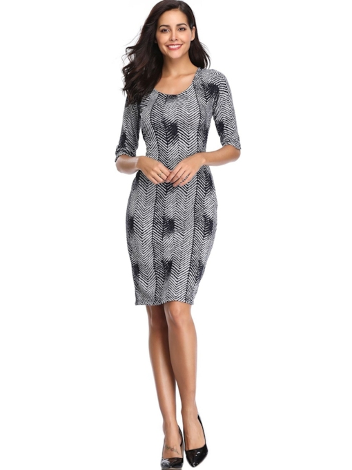 Half Sleeve Print Stripe Women's Bodycon Dresses