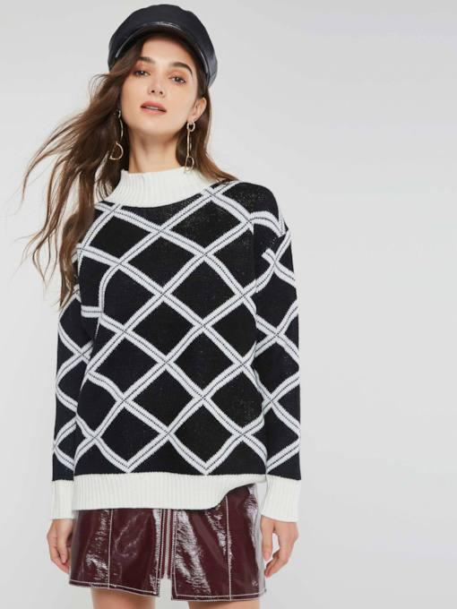 Loose Color Block Plaid Pullover Women's Sweater