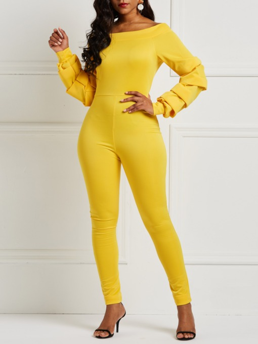 Full Length Zipper Fashion Plain Skinny Women's Jumpsuits