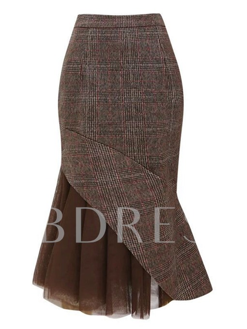 Patchwork Ankle-Length Bodycon Women's Skirt