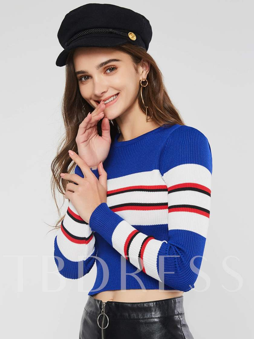 Color Block Stripe Short Round Neck Women's Sweater