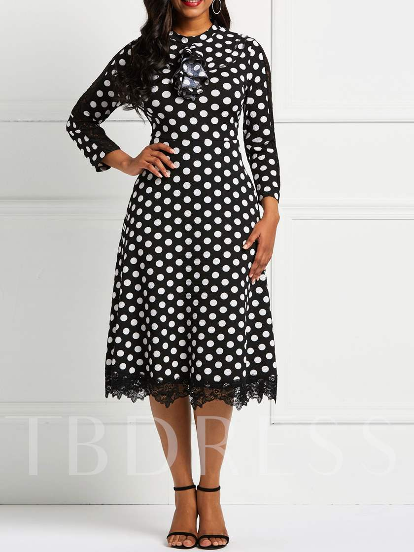 Lace Patchwork Polka Dots Women's Long Sleeve Dress