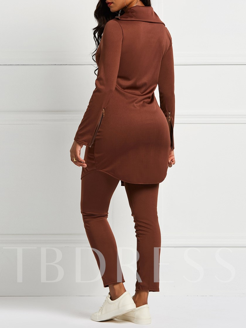 Plain Zipper Thicken Coat & Pants Women's Two Piece Sets