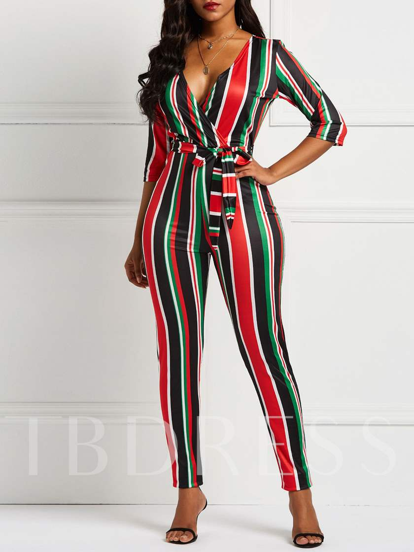 Color Block Stripe Skinny Tie Waist Women's Jumpsuits