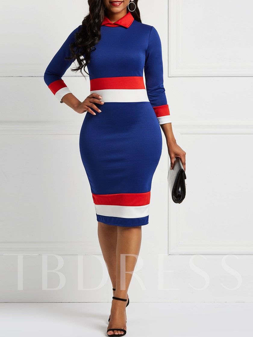 Polo Neck Long Sleeve Bodycon Women's Maxi Dress