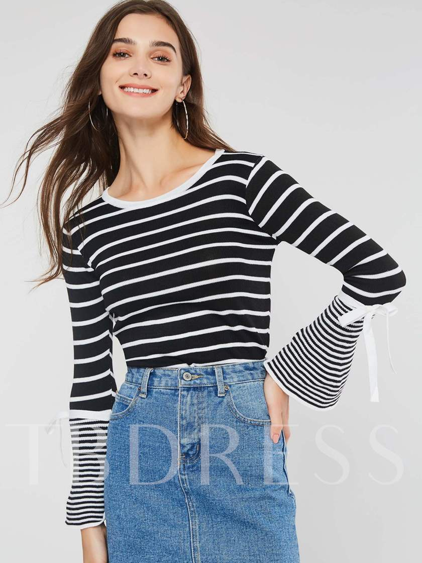 Lace-Up Flare Sleeve Round Neck Stripe Women's Sweater
