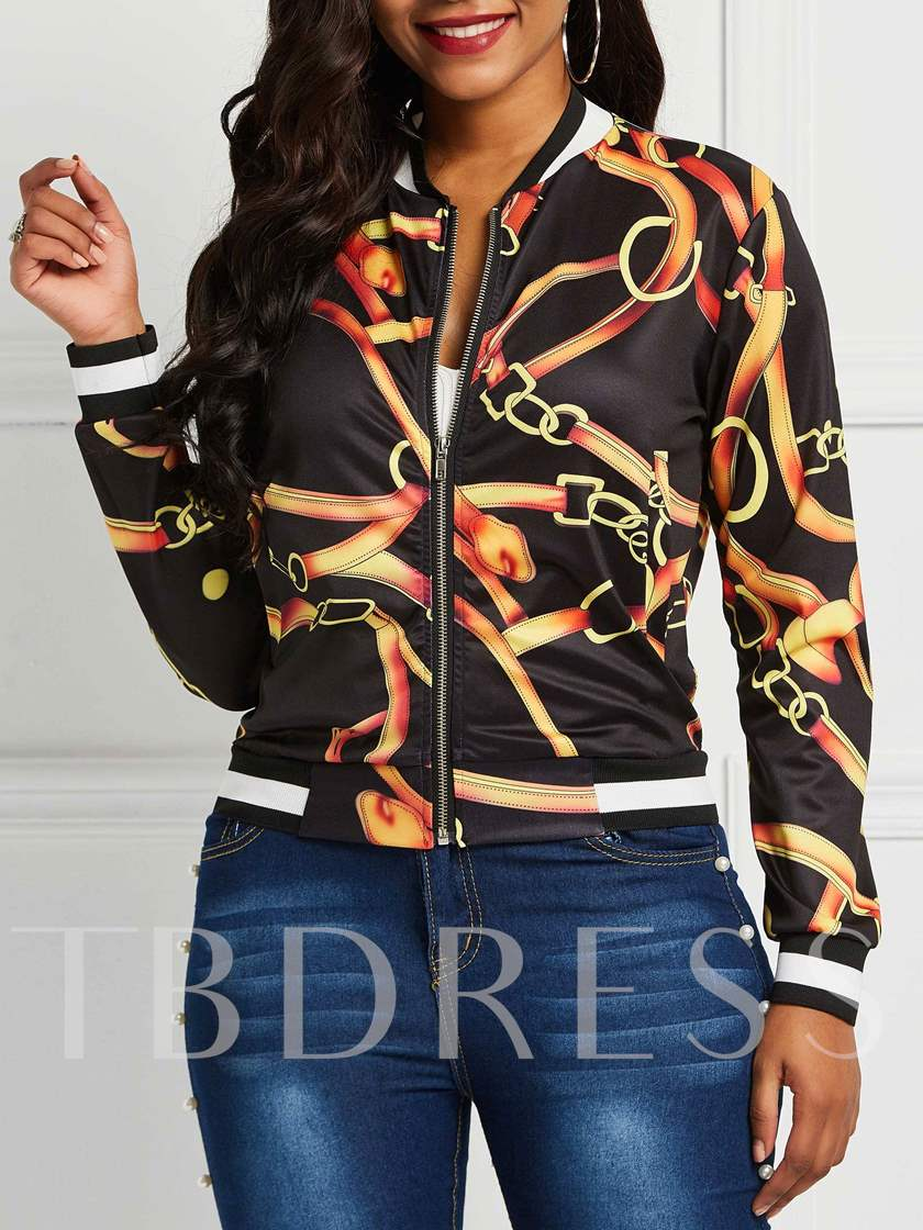Color Block Chain Print Women's Bomber Jacket