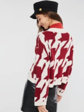 Geometric Single-Breasted Loose Round Neck Women's Cardigan